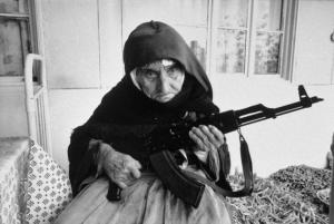 06 year old Armenian lady protecting her home.