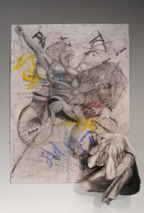 Multimedia Collage and charcoal drawing by Candace Vianna